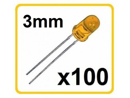 LED dioda - Zuta - 3mm - 100 komada