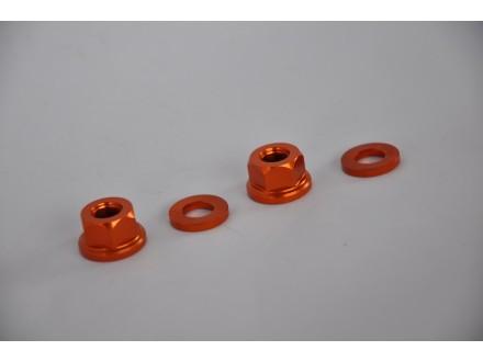 Matice kratke oranž 10mm za osovinu bicikla anodizirane