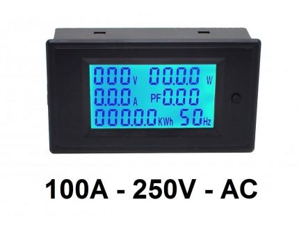 Merac V, W, A, Hz, faktora snage i energije  - 100A AC