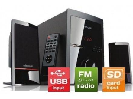 Microlab M-700U * Aktivni drven zvucnici 2.1 46W RMS(18W,2x14W) SD, USB, FM, daljinski, 3.5mm (4839)
