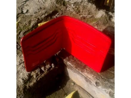 Minimalistički muški kožni novčanik crvene boje - No 02