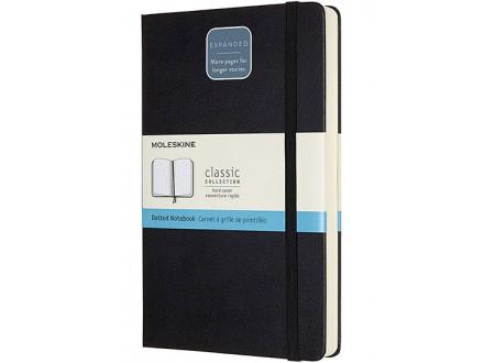 Moleskine - Classic Expanded Dotted Paper Notebook, Color Black - Moleskine