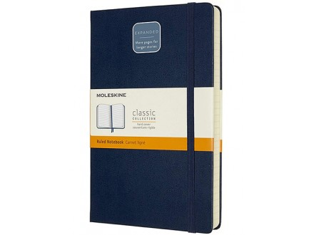 Moleskine - Classic Notebook Expanded, Ruled Notebook, Colour Sapphire Blue