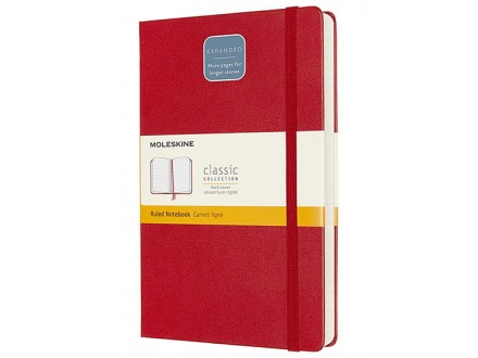 Moleskine - Classic Notebook Expanded, Ruled Notebook, Colour Scarlet Red - Moleskine