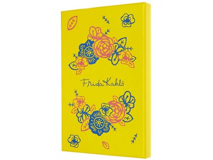 Moleskine Limited Edition Frida Kahlo Notebook, Notebook with Blank Pages and Hard Cover, Collector`s Box, Yellow and Blue Colour - Moleskine