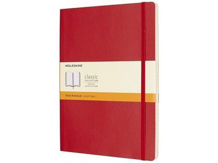 Moleskine - Soft Cover XL Ruled Notebook, Scarlet Red - Moleskine
