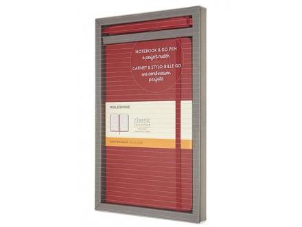 Moleskine set - Vertical +Go Pen, Large, Scarlet Red - Moleskine