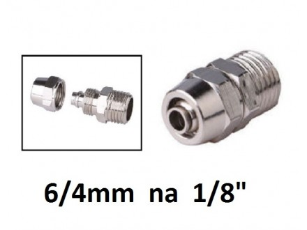 Pneumatska spojnica za vazduh 6/4mm na 1/8 (oko 9.5mm)