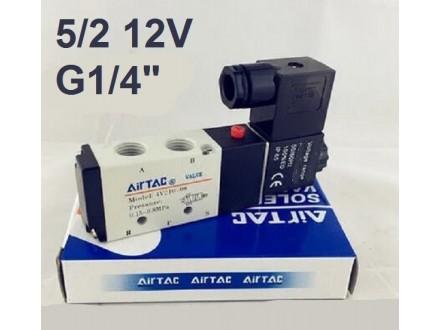 Pneumatski razvodnik elektromagnetni 5/2 G1/4″ 12VDC