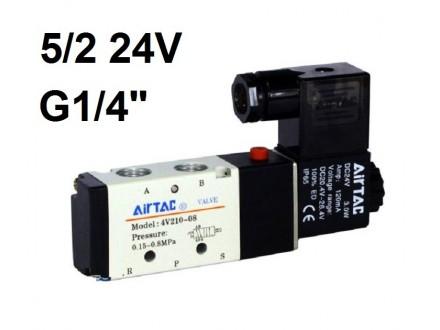Pneumatski razvodnik elektromagnetni 5/2 G1/4″ 24VDC