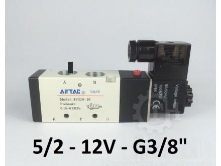 Pneumatski razvodnik elektromagnetni 5/2 G3/8″ 12VDC