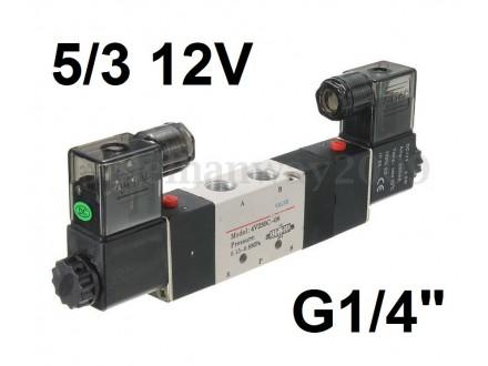 Pneumatski razvodnik elektromagnetni 5/3 G1/4″ 12VDC