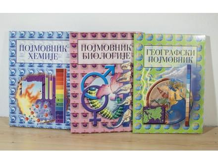 Pojmovnik Hemije, Biologije, Geografije (3 knjige)