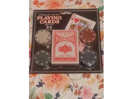 Poker karte i 24 čipa