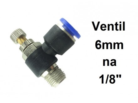 Prigusni ventil 6mm na 1/8 (9.7mm) SL6-1/8