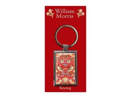 Privezak - William Morris, Strawberry Thief, Red