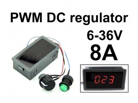 Regulator DC motora - PWM - 8A + displej