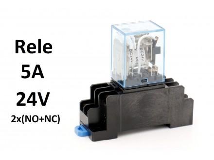 Rele - 5A - 24V - 2x(NO+NC) MY2 + podnozje