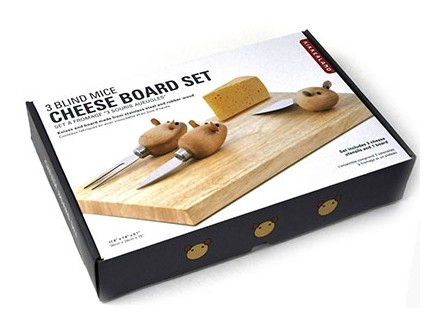 Rubberwood Stainless Steel Mouse Cheese Board Set - Kikkerland