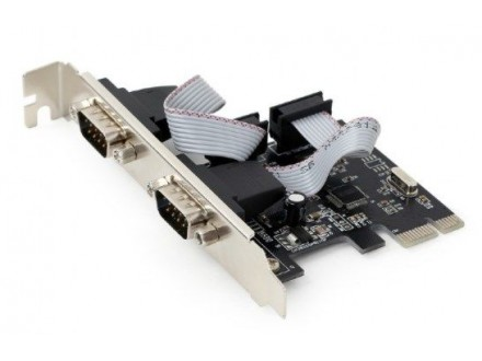 SPC-22 Gembird 2 serial port PCI-Express add-on card, with extra low-profile bracket