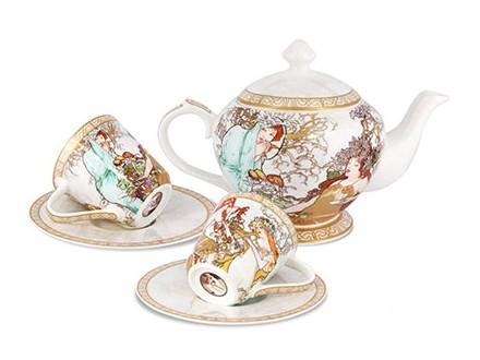 Set čajnik i šolje sa tacnom - Mucha, Four Seasons