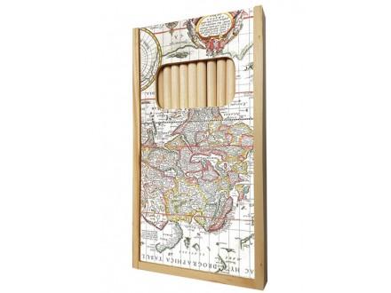 Set drvenih olovaka - Antique Maps, Map of the World