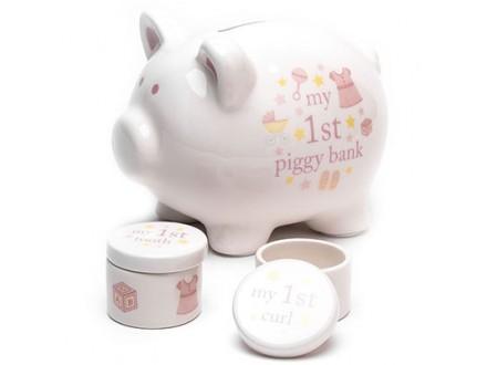 Set kasica i kutijice - Hello Baby, Piggy, Baby Girl - Hello Baby