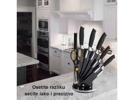 Set noževa, makaze, oštrač i stalak