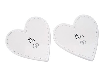 Set od 2 podmetača - Sent and Meant, Mr and Mrs, Heart - Sent &; Meant