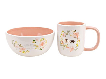 Set šolja i činija - Peaches &; Cream, Breakfast in Bed, Mum - Peaches &; Cream