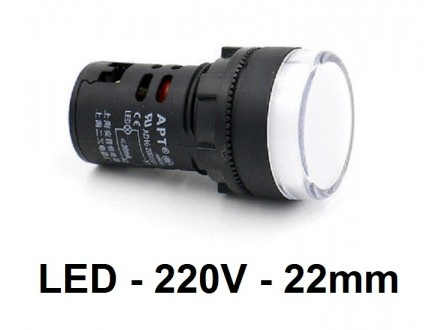 Signalna LED sijalica - 220V - Bela - 22mm
