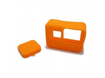 Silikonska Maska / oklop za GoPro 5 + maska za objektiv narandzasta (MS)