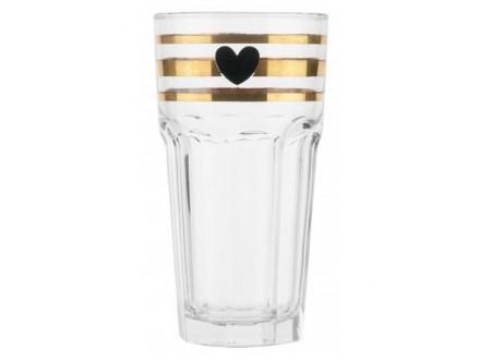 Šolja za poneti - Gold Stripe Black Heart
