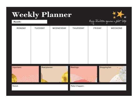 Stoni planer A3 - Glitter, Gold, Week To View - Glitter