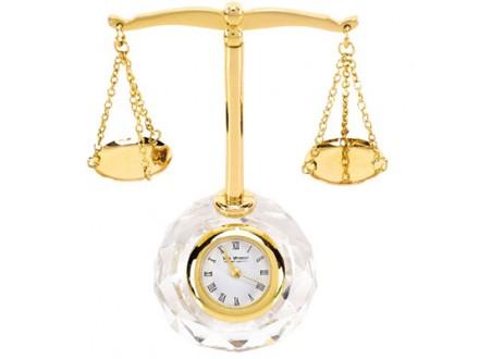 Stoni sat - Mini Clock, Scales of Justice - William
