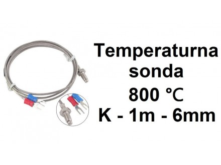 Temperaturna sonda 800℃ 1m K tip sa navojem M6