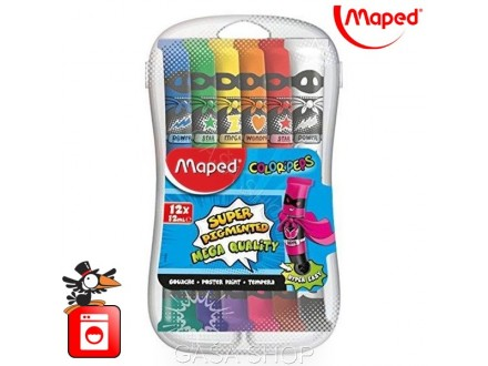 Tempere Maped Color Peps 12x12ml  pvc box No. 810520
