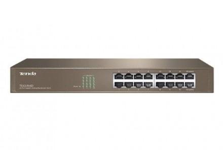 Tenda TEG1016D LAN 16-Port 10/100/1000M Base-T Ethernet ports (Auto MDI/MDIX) Desktop or rack mount