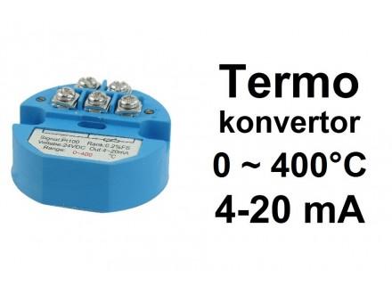 Termo konvertor - PT100 - 4-20mA - 24V - 0~400°C