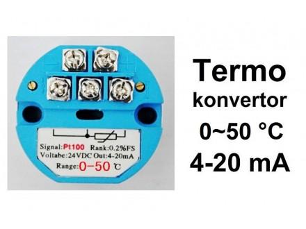 Termo konvertor - PT100 - 4-20mA - 24V 0~50°C