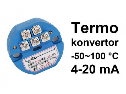 Termo konvertor - PT100 - 4-20mA - 24V -50~100°C