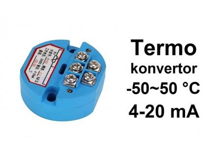 Termo konvertor - PT100 - 4-20mA - 24V -50~50°C