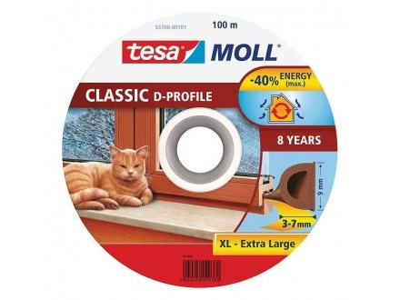 Termoband dihtung guma braon - D profil 100m TESA