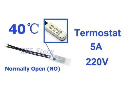 Termostat - 40°C - 5A - 250V - NO - bimetal