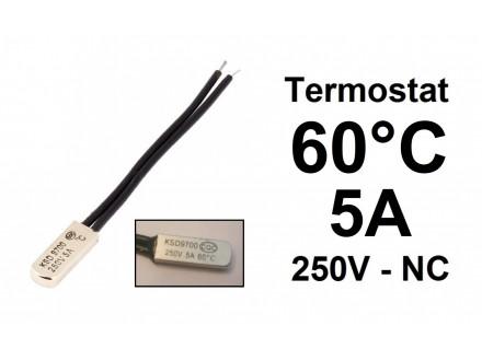 Termostat - 60°C - 5A - 250V - NC - bimetal