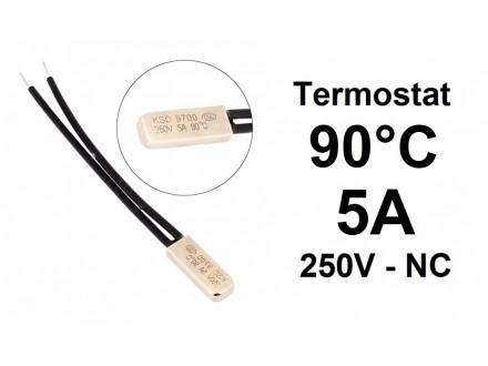 Termostat - 90°C - 5A - 250V - NC - bimetal