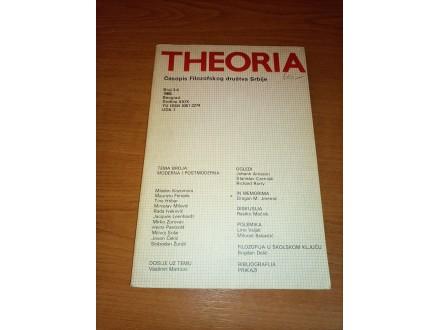 Theoria - časopis filozofskog društva 3-4 1986