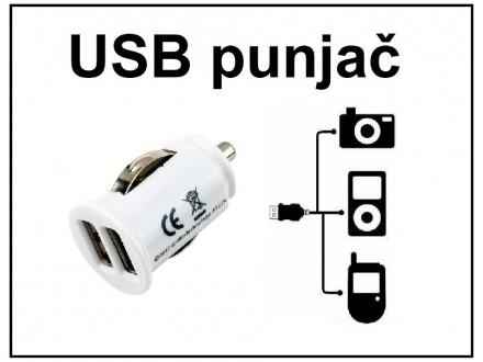 USB auto punjac, DUPLI, 2A, 12-24V - 1 komad