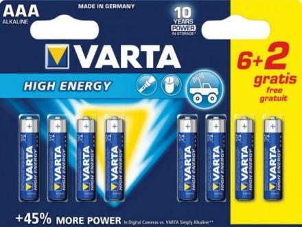 VARTA-4903SO AAA 1.5V LR03 MN2400, PAK8 CK, ALKALNE baterije HIGH ENERGY