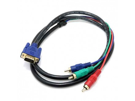 VGA kabl na 3 RCA 1.5m crni (MS)